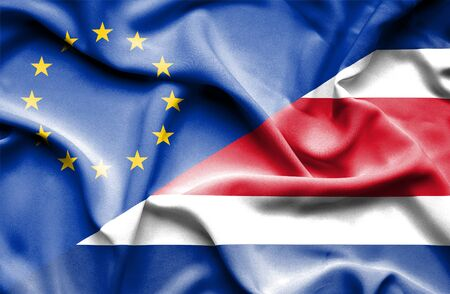 costa rican flag: Waving flag of Costa Rica and