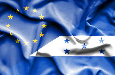 honduras: Waving flag of Honduras and