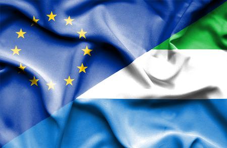 sierra leone: Waving flag of Sierra Leone and