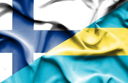 bahamas: Waving flag of Bahamas and Finland