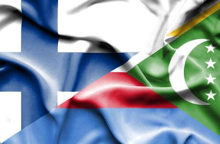 comoros: Waving flag of Comoros and Finland Stock Photo