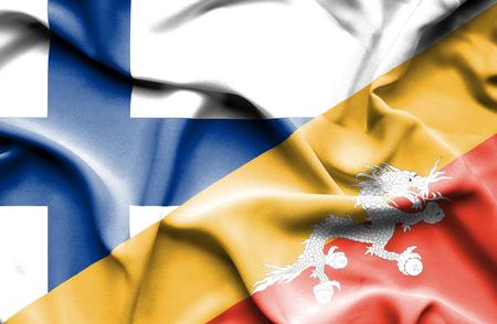 bhutan: Waving flag of Bhutan and Finland Stock Photo