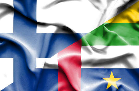 central african republic: Waving flag of Central African Republic and Finland