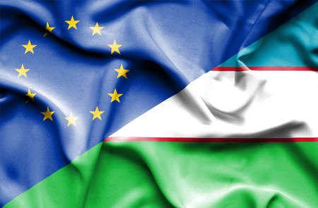 uzbekistan: Waving flag of Uzbekistan and