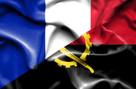 angola: Waving flag of Angola and France