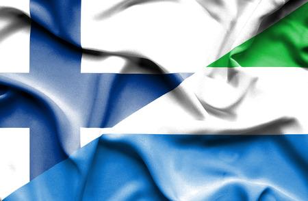 leone: Waving flag of Sierra Leone and Finland
