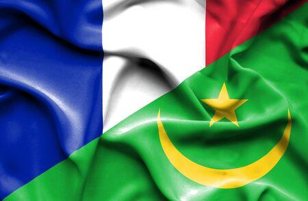 mauritania: Waving flag of Mauritania and France