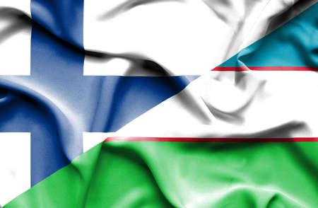 uzbekistan: Waving flag of Uzbekistan and Finland