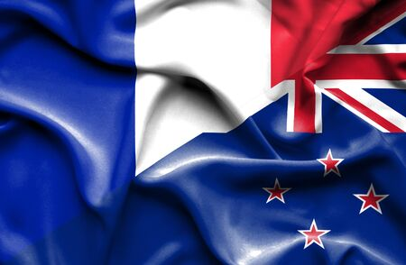 bandera de nueva zelanda: Ondeando la bandera de Nueva Zelanda y Francia Foto de archivo