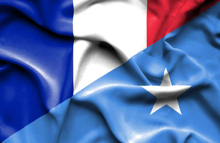 somalian culture: Waving flag of Somalia and France