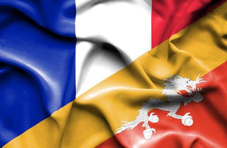 bhutan: Waving flag of Bhutan and France Stock Photo