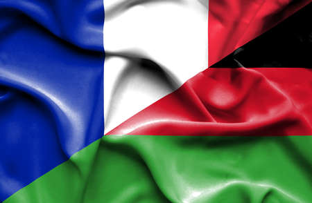 malawian flag: Waving flag of Malawi and France Stock Photo
