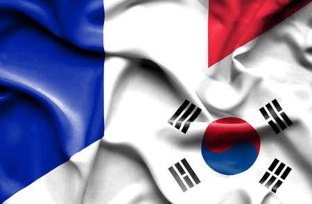 south korea: Waving flag of South Korea and France