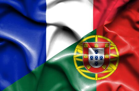 portugese: Waving flag of Portugal and France