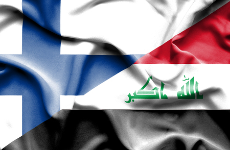 iraq conflict: Waving flag of Iraq and Finland