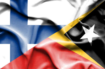 timor: Waving flag of East Timor and Finland