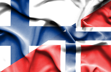 norway flag: Waving flag of Norway and Finland