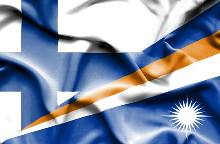 marshall: Waving flag of Marshall Islands and Finland