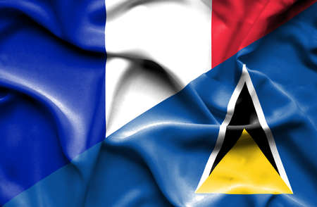 st lucia: Waving flag of St Lucia and France