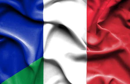 italian flag: Ondeando la bandera de Italia y Francia