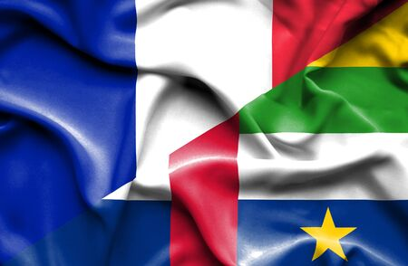 central african republic: Waving flag of Central African Republic and France