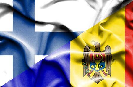 moldavia: Waving flag of Moldavia and Finland Stock Photo