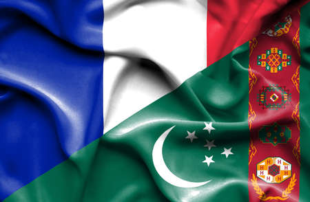 turkmenistan: Waving flag of Turkmenistan and France