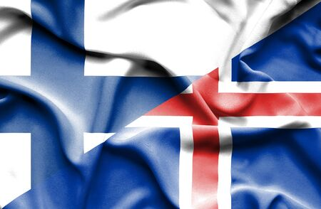 iceland: Waving flag of Iceland and Finland Stock Photo