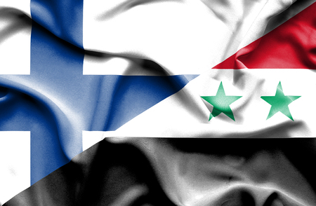 syria peace: Waving flag of Syria and Finland