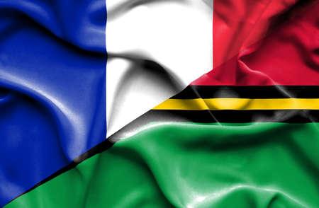 vanuatu: Waving flag of Vanuatu and France