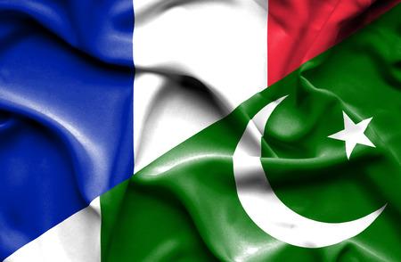 flag of pakistan: Waving flag of Pakistan and France