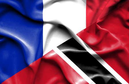 tobago: Waving flag of Trinidad and Tobago and France