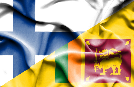 sri lanka: Waving flag of Sri Lanka and Finland Stock Photo