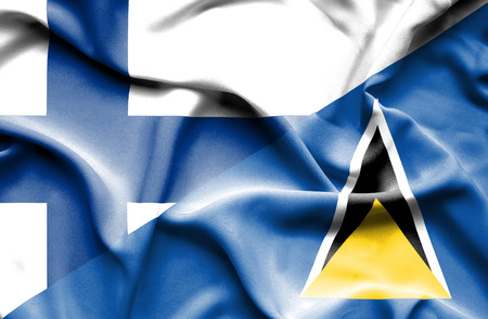 st lucia: Waving flag of St Lucia and Finland