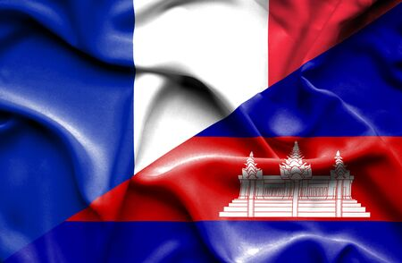 cambodian: Waving flag of Cambodia and France