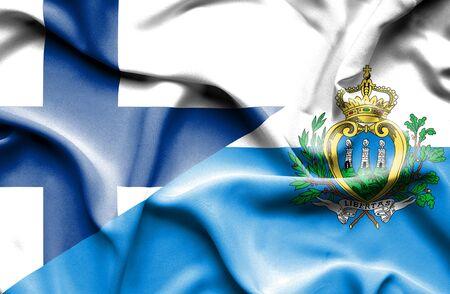san marino: Waving flag of San Marino and Finland