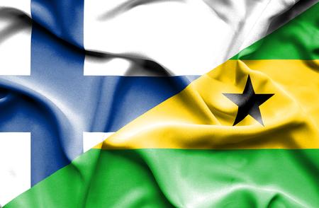 principe: Waving flag of Sao Tome and Principe and Finland Foto de archivo