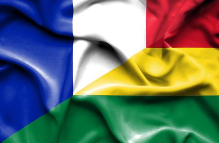 bolivia: Waving flag of Bolivia and France