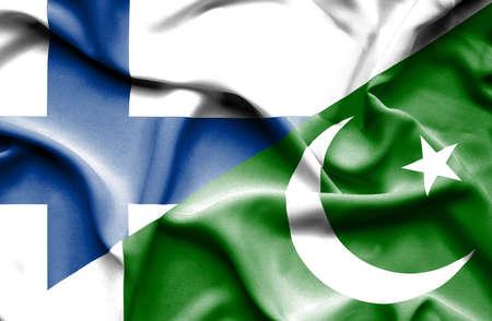 flag of pakistan: Waving flag of Pakistan and Finland
