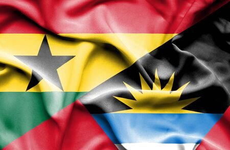 antigua: Waving flag of Antigua and Barbuda and Ghana