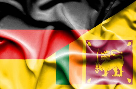 sri lankan flag: Waving flag of Sri Lanka and
