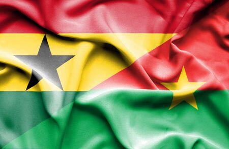 burkina faso: Waving flag of Burkina Faso and Ghana