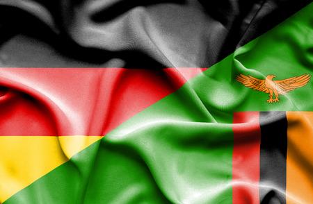 zimbabwe: Waving flag of Zimbabwe and Stock Photo