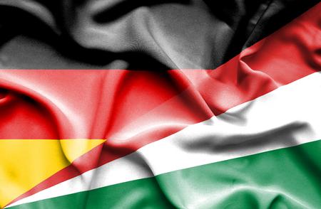 seychelles: Waving flag of Seychelles and