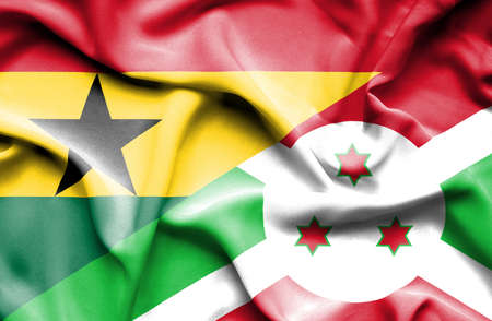 burundi: Waving flag of Burundi and Ghana Stock Photo