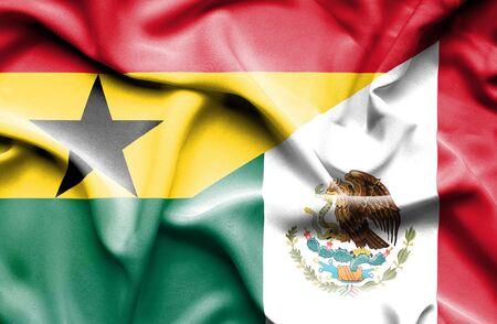 ghana: Waving flag of Mexico and Ghana Stock Photo