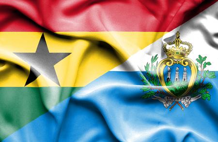 ghana: Waving flag of San Marino and Ghana