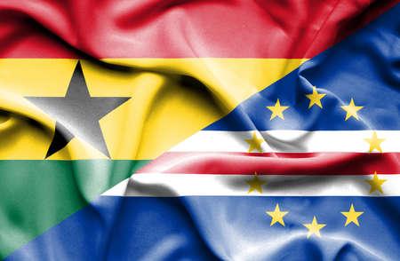 cape verde: Waving flag of Cape Verde and Ghana Stock Photo