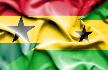 principe: Ondeando la bandera de Santo Tomé y Príncipe y Ghana