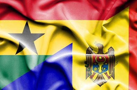 moldavia: Waving flag of Moldavia and Ghana